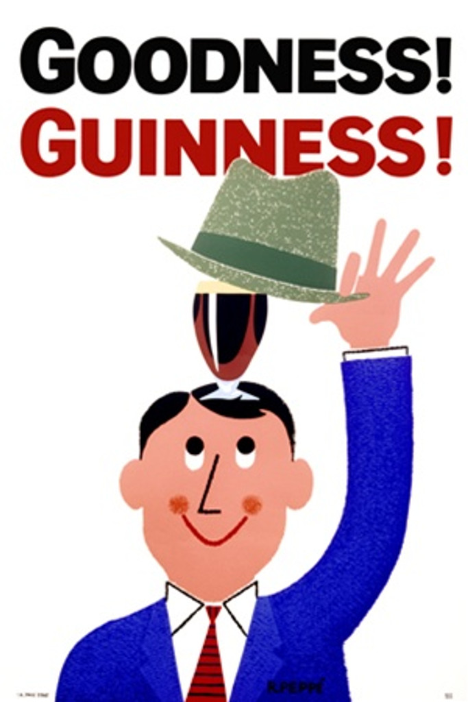 Goodness! Guinness! by Gilroy 1962 England - Beautiful Vintage Poster Reproductions. This vertical English wine and spirits poster features a cartoon man lifting his hat to reveal a glass of beer. Giclee Advertising Print. Classic Posters