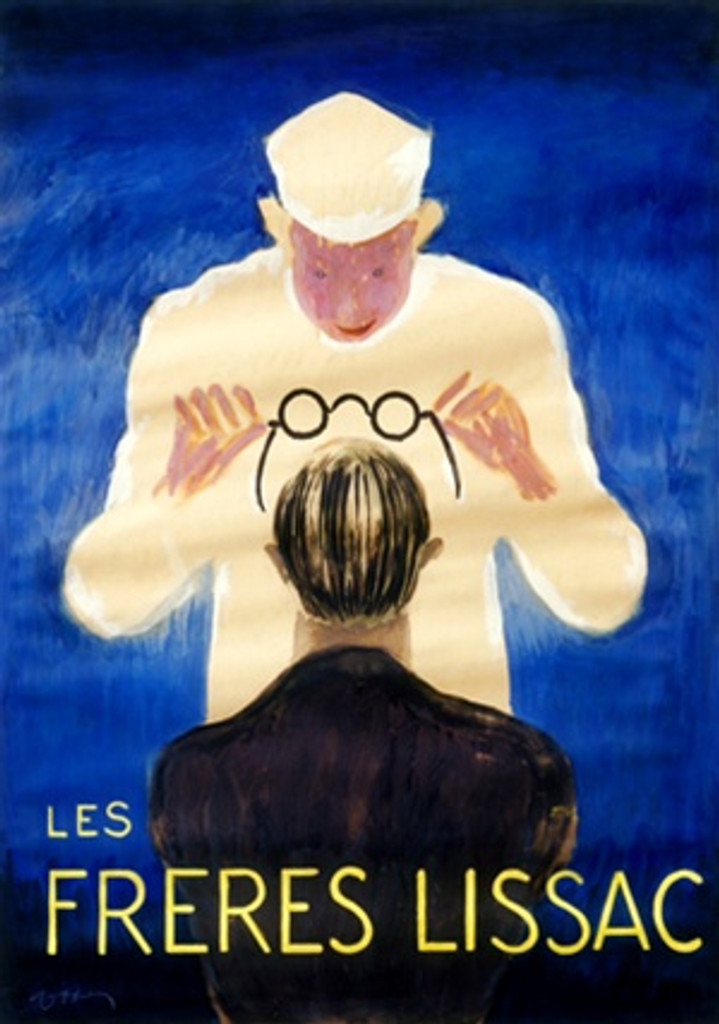 Les Freres Lissac by Cappiello 1926 France - Beautiful Vintage Poster Reproduction. This vertical French poster features a man in white placing a pair of glasses on a man in black with his back to us on a blue background. Giclee advertising print Classic