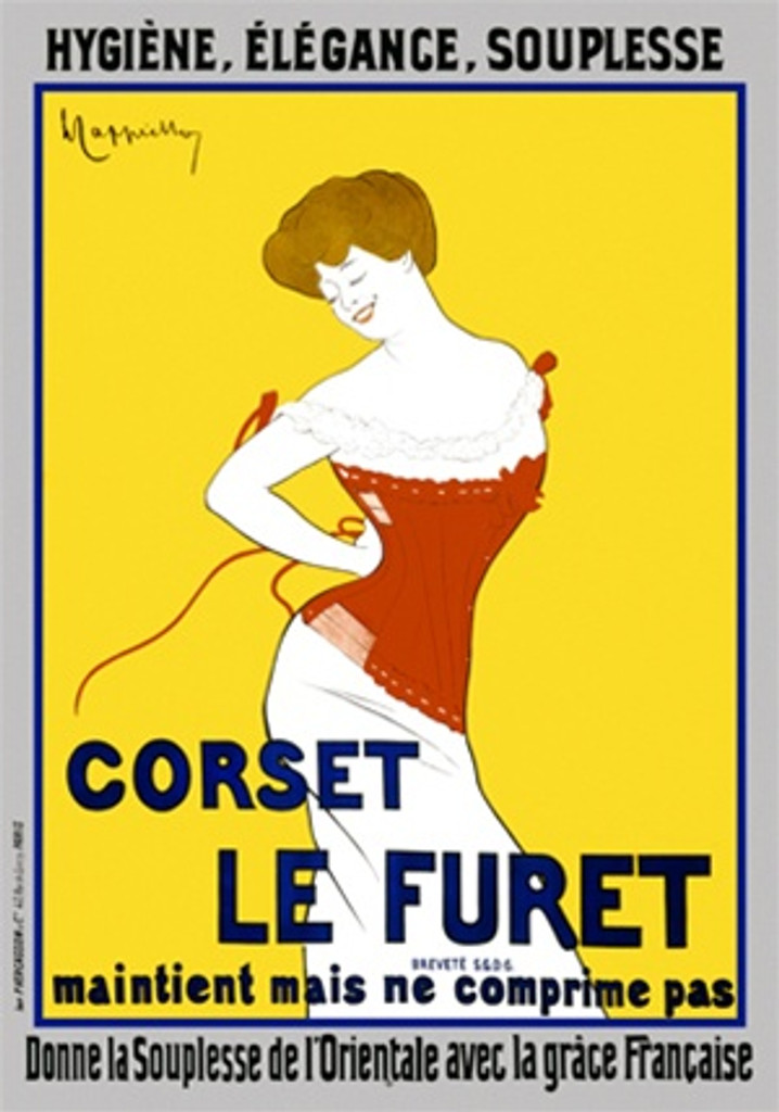 Corset Le Furet by Cappiello 1901 France - Beautiful Vintage Poster Reproduction. This vertical French poster features a red headed woman tying her red corset against a yellow background. Giclee advertising print. Classic Posters