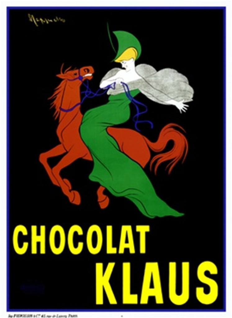Chocolat Klaus by Cappiello 1903 France - Beautiful Vintage Poster Reproduction. This vertical French poster advertising chocolate features a woman in a green dress and hat on a red horse riding across a black background. Giclee advertising print Classic