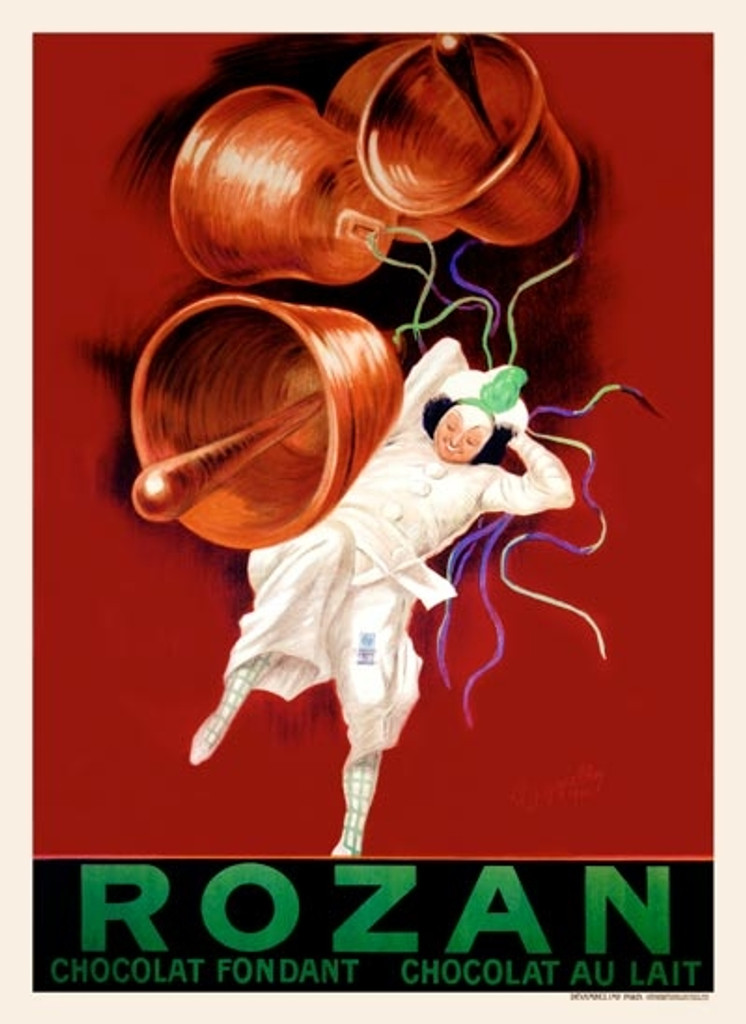 Rozan Cappiello poster from 1920 France - Beautiful Vintage Poster Reproduction. French poster advertising for Rozan chocolate features a man or clown in white and four ringing bells on a red background. Rozan Chocolat Fondant Chocolat Au Lait