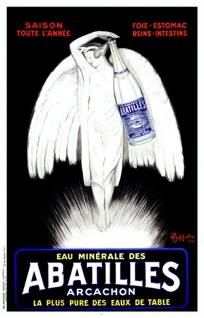 Abatilles by Cappiello 1926 France - Beautiful Vintage Poster Reproduction. French poster advertising mineral water features an angel (woman with wings) in white holding a large bottle of water against a black background. Giclee Prints