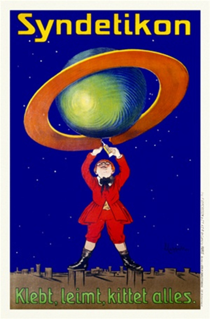 Syndetikon Glue by Cappiello 1905 Germany - Beautiful Vintage Poster Reproduction. This vertical german poster advertising glue features a boy fixing a broken ring around a globe against a starry sky. Giclee advertising print. Classic Posters