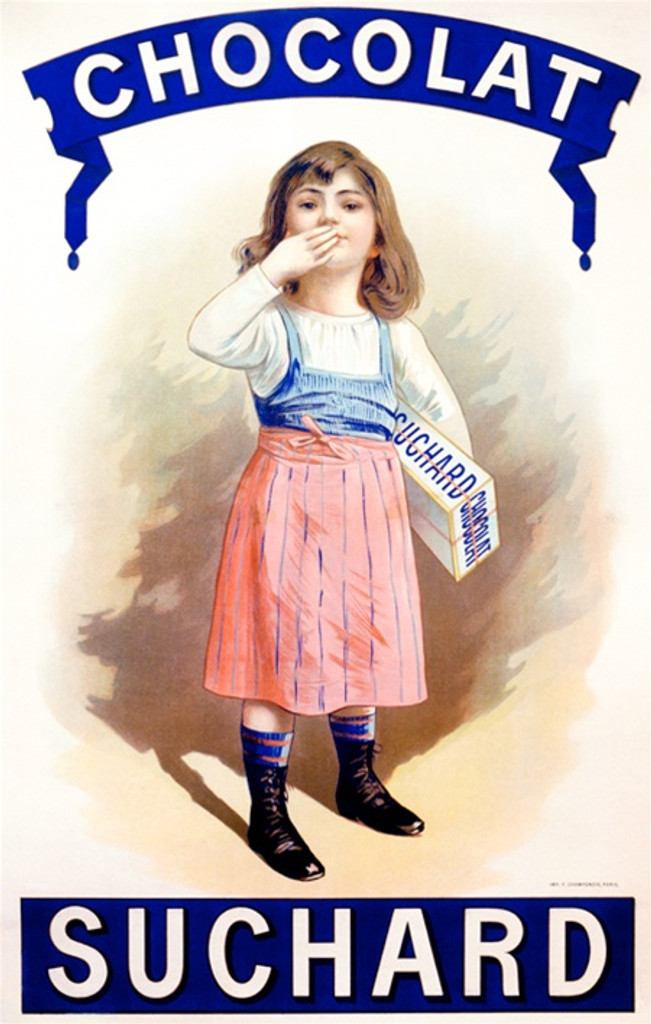 Chocolat Suchard by Imp. Champenoi 1900 France -Vintage Poster Reproductions. This French culinary / food poster features a girl in a blue and pink dress getting ready to blowing a kiss holding a box of chocolate. Giclee Advertising Print. Classic Posters