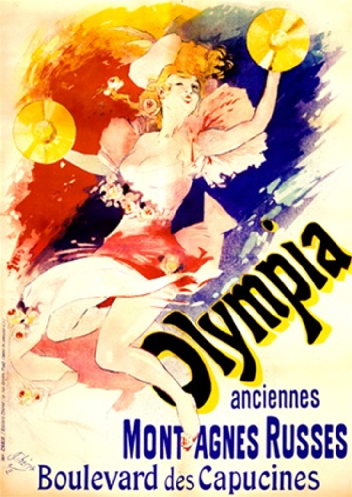 Olympia by Cheret 1892 France - Beautiful Vintage Poster Reproductions. This vertical French theater and exhibition poster features a woman with flowers on her dress and cymbals leaping up in the air. Giclee Advertising Print. Classic Posters