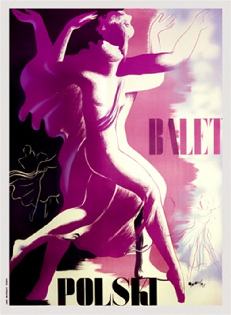 Balet Polski poster 1937 France - Vintage Poster Reproductions. This vertical French theater poster features a purple and white couple dancing dividing the poster between black and white with background dancers. Giclee Advertising Print. Classic Posters