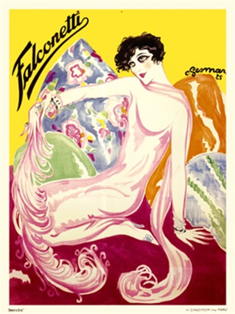 Falconetti by Gesmar 1925 France -Beautiful Vintage Poster Reproductions. This vertical French product poster features a woman dressed in pink sitting on pillows holding a long feather against a yellow background. Giclee Advertising Print. Classic Posters