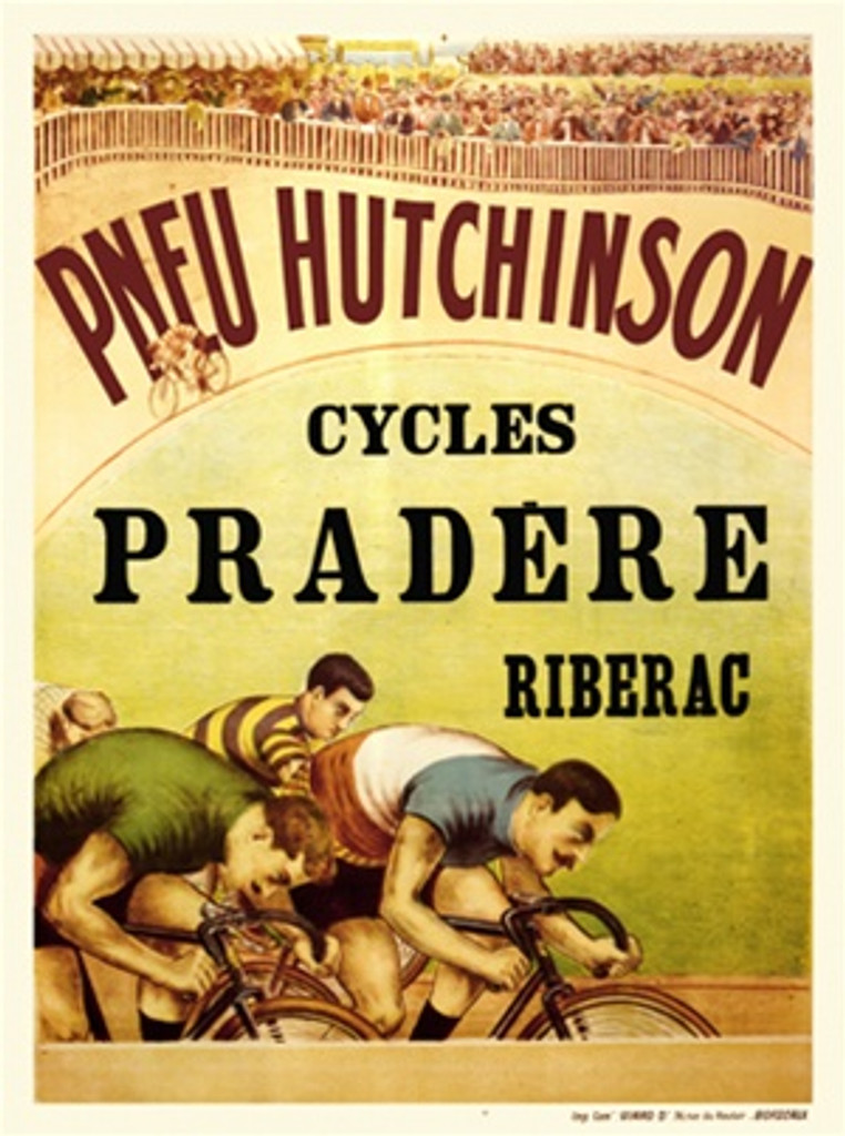 Cycles Pradere 1908 France - Beautiful Vintage Poster Reproductions. This vertical French product poster features cyclist racing at the bottom of the ad and crowd watches along the top. Giclee Advertising Print. Classic Posters. Transportation