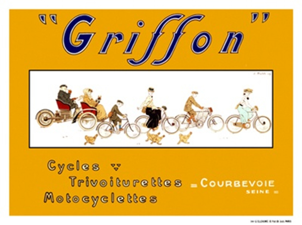 Griffon by Matet 1909 France - Vintage Poster Reproductions. This horizontal French transportation poster features a group of cyclist riding together with chickens following in a white rectangle on yellow. Giclee Advertising Print. Classic Posters