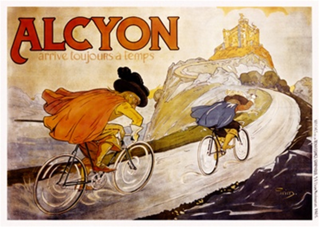 Alcyon by Grim 1904 France - Beautiful Vintage Poster Reproductions. This horizontal French transportation poster features two men in capes racing bicycles up a road to a castle on a hill. Giclee Advertising Print. Classic Posters