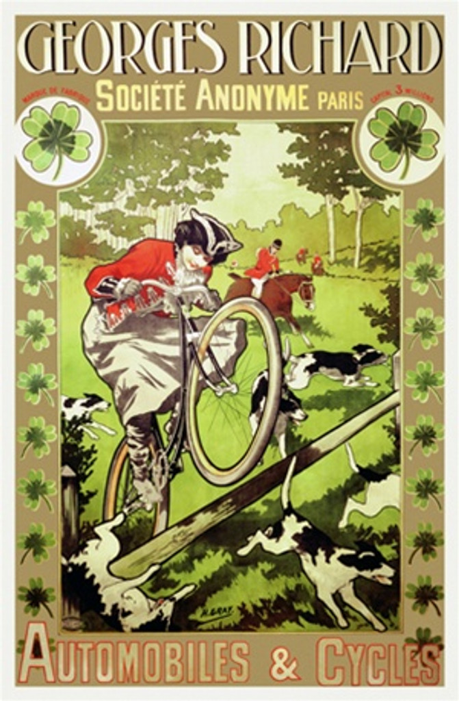 Georges Richard Automobiles and Cycles by H. Gray 1902 France - Vintage Poster Reproductions. This French product poster features a woman on a fox hunt riding a bicycle jumping a log inside a clover border. Giclee Advertising Print. Classic Posters