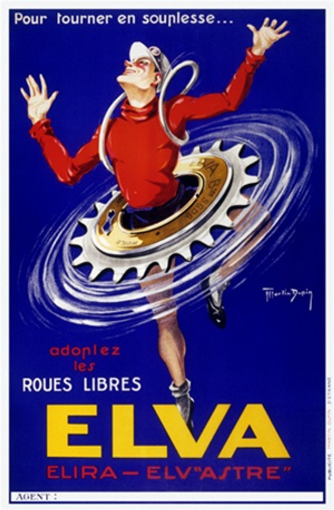 Elva by Dupin 1930 France - Beautiful Vintage Poster Reproductions. This vertical French transportation poster features a man dancing ballet with a bicycle sprocket as a tutu against a blue background. Giclee Advertising Print. Classic Posters