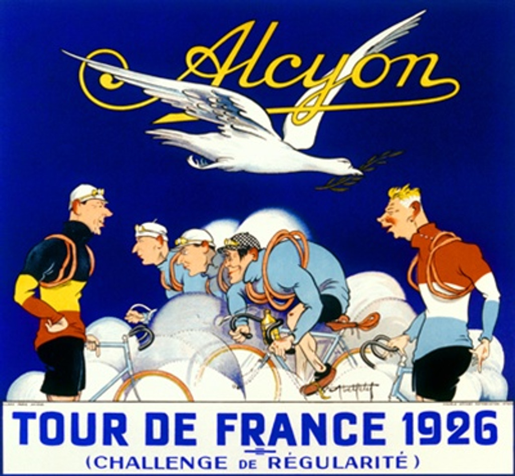 Alcyon cycles Tour De France 1926 France - Vintage Poster Reproductions. Horizontal French poster features cyclist racing in a cloud of dust with two men looking on as a white bird flies over with a branch. Giclee Advertising Print. Classic Posters