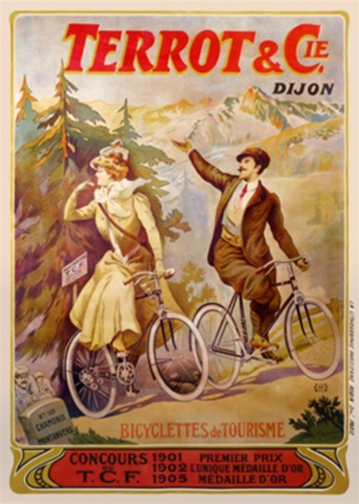 Terrot and Cie by Tamango 1905 France - Beautiful Vintage Poster Reproductions. French transportation poster features a couple riding bikes in the mountain forest stopping to look back at the view. Giclee Advertising Print. Classic Posters