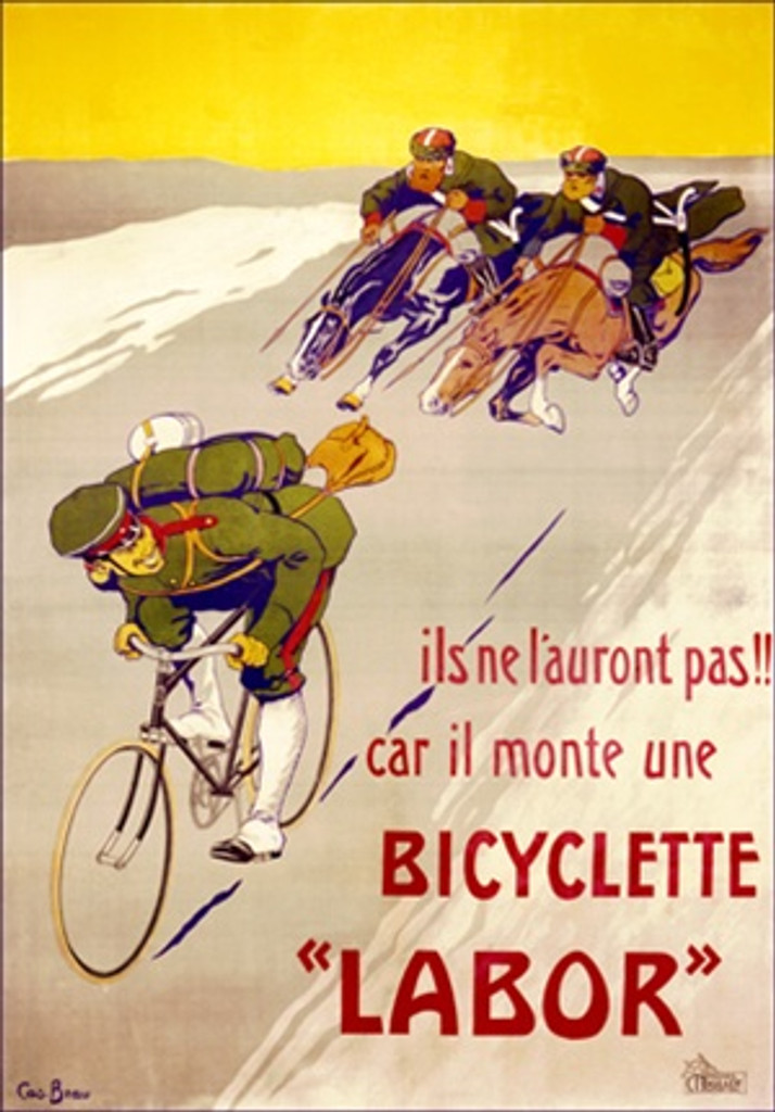 Bicyclette Labor by Bzau 1901 France - Beautiful Vintage Poster Reproductions. This vertical French transportation poster features a soldier on a bike being chased by men on horses against a yellow sky. Giclee Advertising Print. Classic Posters