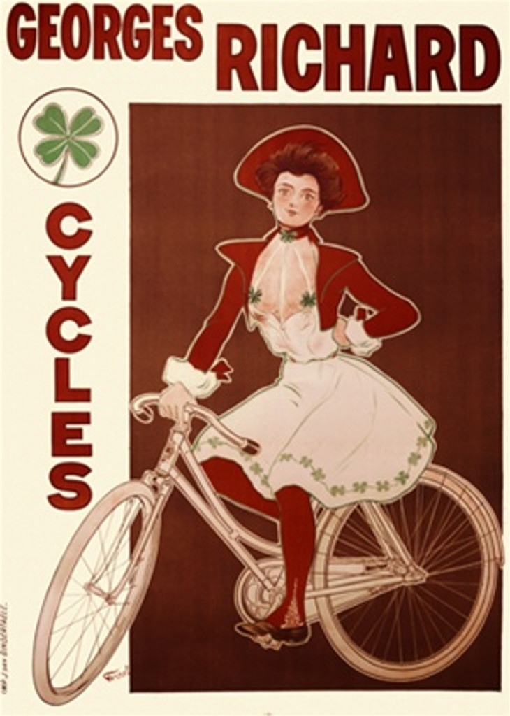 Georges Richard Cycles by Fennel 1898 France - Vintage Poster Reproductions. This vertical French transportation poster features a woman in a white dress with four leaf clovers and red hat and jacket on a bike. Giclee Advertising Print. Classic Posters