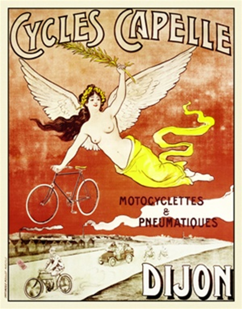 Cycles Capelle by Imp. Moullot 1907 France - Vintage Poster Reproductions. This French transportation poster features an angel flying across a red sky with a bike in hand over a road with cars and motorcycles. Giclee Advertising Print. Classic Posters