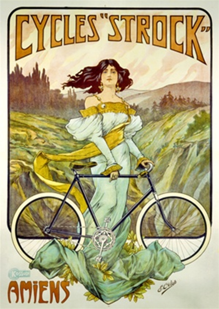 Cycles Strock poster by Imp. Kossuth 1901 France - Vintage Poster Reproductions. French transportation poster features a woman in a formal dress standing in a field with a bike as the wind blows her hair and sash. Giclee Advertising Print. Classic Posters