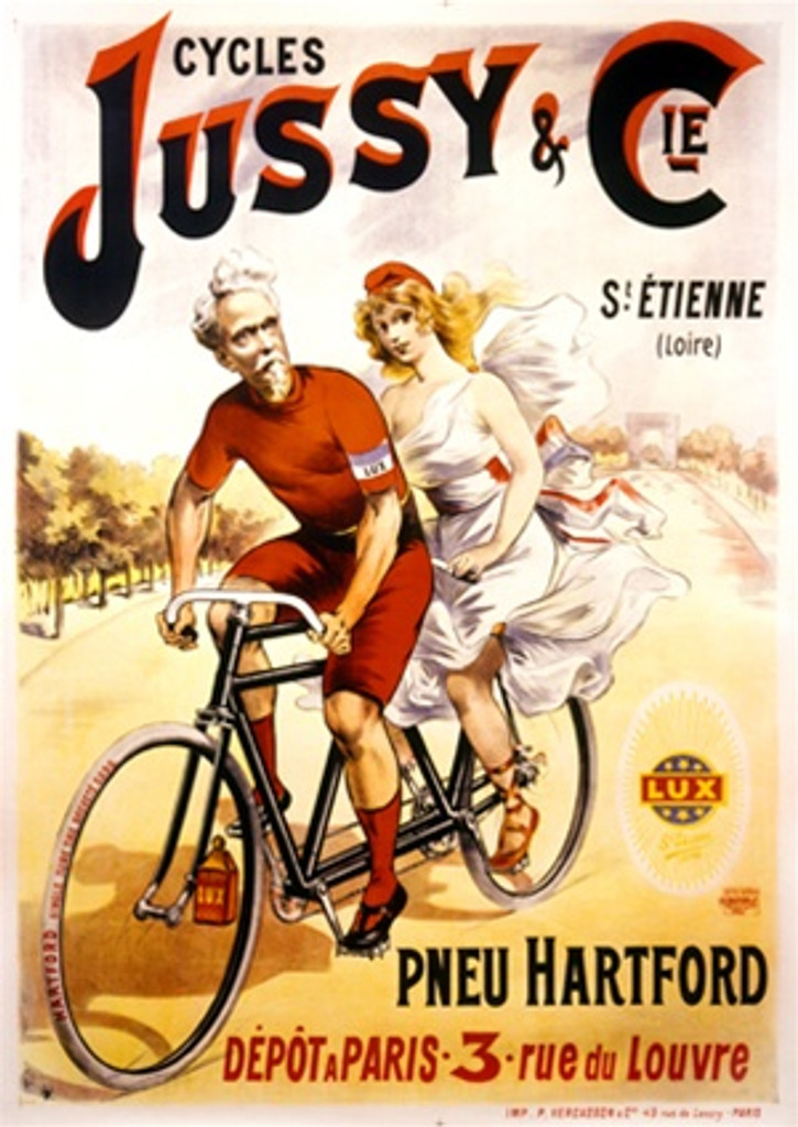 Cycles Jussy and Cie 1900 France - Vintage Poster Reproductions. This vertical French transportation poster features a couple on a tandem bike. He is a grey haired man in red and she is a young woman in white. Giclee Advertising Print. Classic Posters