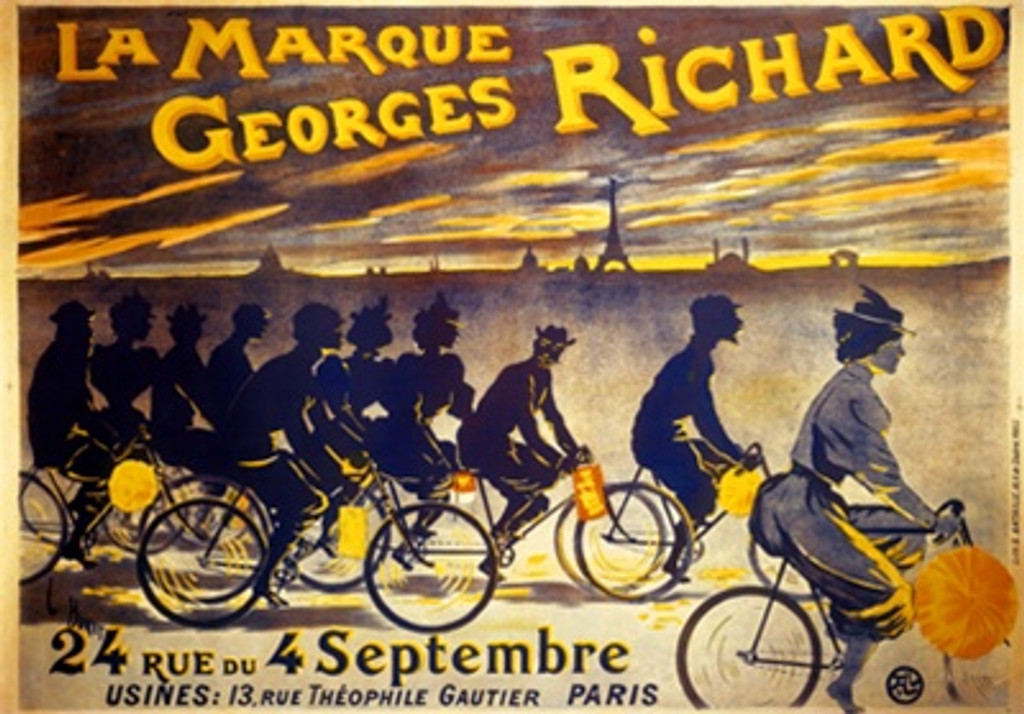 La Marque Georges Richard by Buret 1889 France -Vintage Poster Reproductions. This horizontal French poster features silhouette of cyclists with lanterns with the eiffel tower in the sunset background. Giclee Advertising Print. Classic Posters