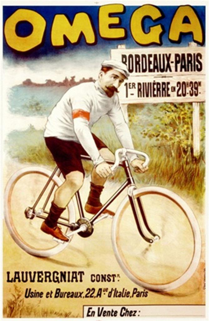 Omega by Imp. P. DuPont 1899 France - Beautiful Vintage Poster Reproductions. This vertical French transportation poster features a cyclist riding on a dirt road in a field past a sign for Bordeaux Paris. Giclee Advertising Print. Classic Posters