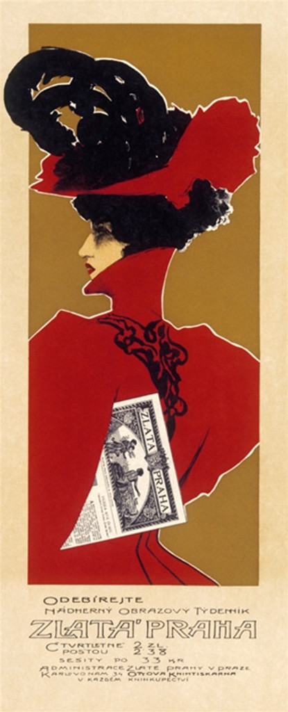 Zlata Praha by Vaclaoliva 1898 Czechoslovakia - Beautiful Vintage Poster Reproductions. This vertical Czech theater and exhibition poster features a woman in red dress and hat with black feathers with newspaper. Giclee Advertising Print. Classic Posters