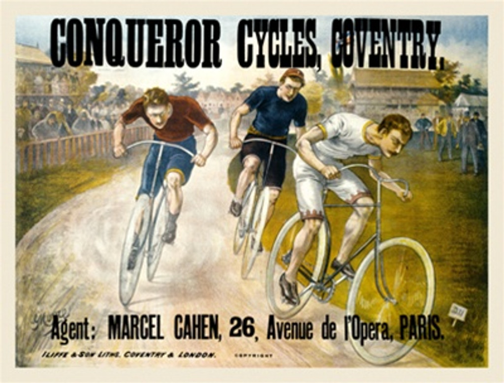 Conqueror Cycles by Moore 1897 England - Beautiful Vintage Poster Reproductions. Horizontal English transportation poster features 3 cyclist racing on a track as a crowd watches behind a fence. Giclee Advertising Print. Classic Posters