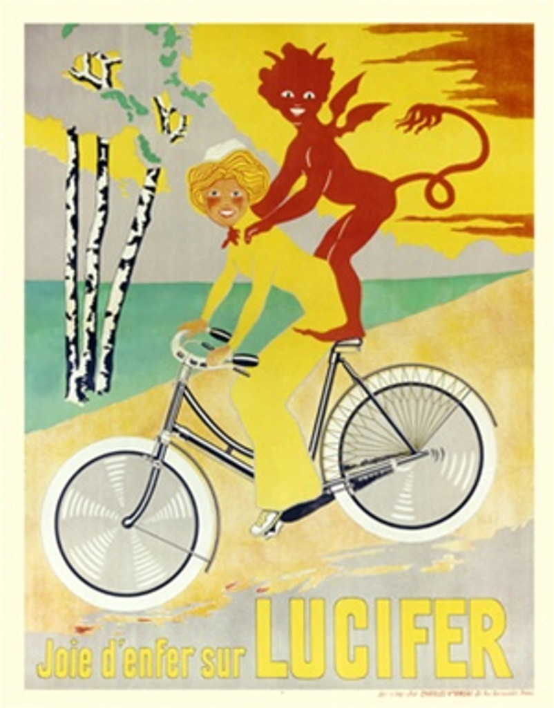 Lucifer by Imp c. Verneau 1906 French - Beautiful Vintage Poster Reproductions. This vertical French transportation poster features a woman in yellow riding a bike down a hill with a red devil on her back. Giclee Advertising Print. Classic Posters