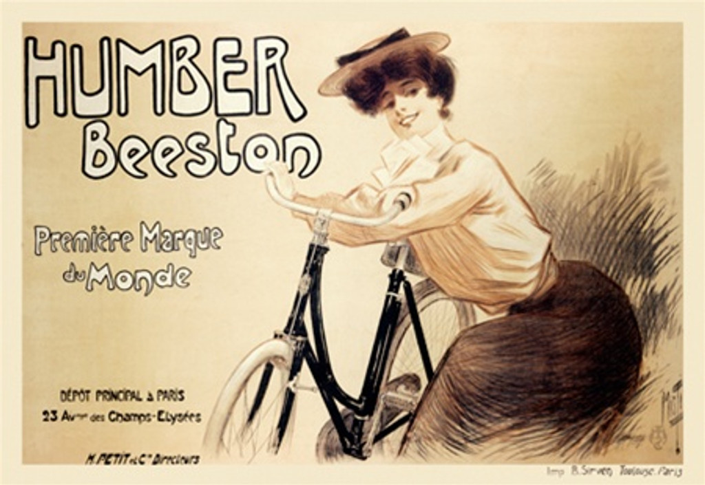 Humber Beeston by Misti 1897 France - Beautiful Vintage Poster Reproductions. This horizontal French transportation poster features a black and white sepia tone image of a woman leaning on a bike. Giclee Advertising Print. Classic Posters