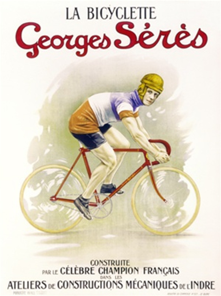 La Bicyclette Georges Seres 1905 France - Vintage Poster Reproductions. This French transportation poster features a cyclist in a yellow helmet and blue, white and red jersey looking at us as he rides past. Giclee Advertising Print. Classic Posters