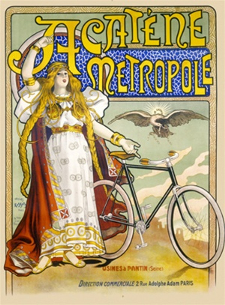Acalene Metropole bicycles poster - Beautiful Vintage Poster Reproductions. This French transportation poster features a royally dressed woman with long blond hair next to a bike with a bird flying behind it. Giclee Advertising Print. Classic Posters