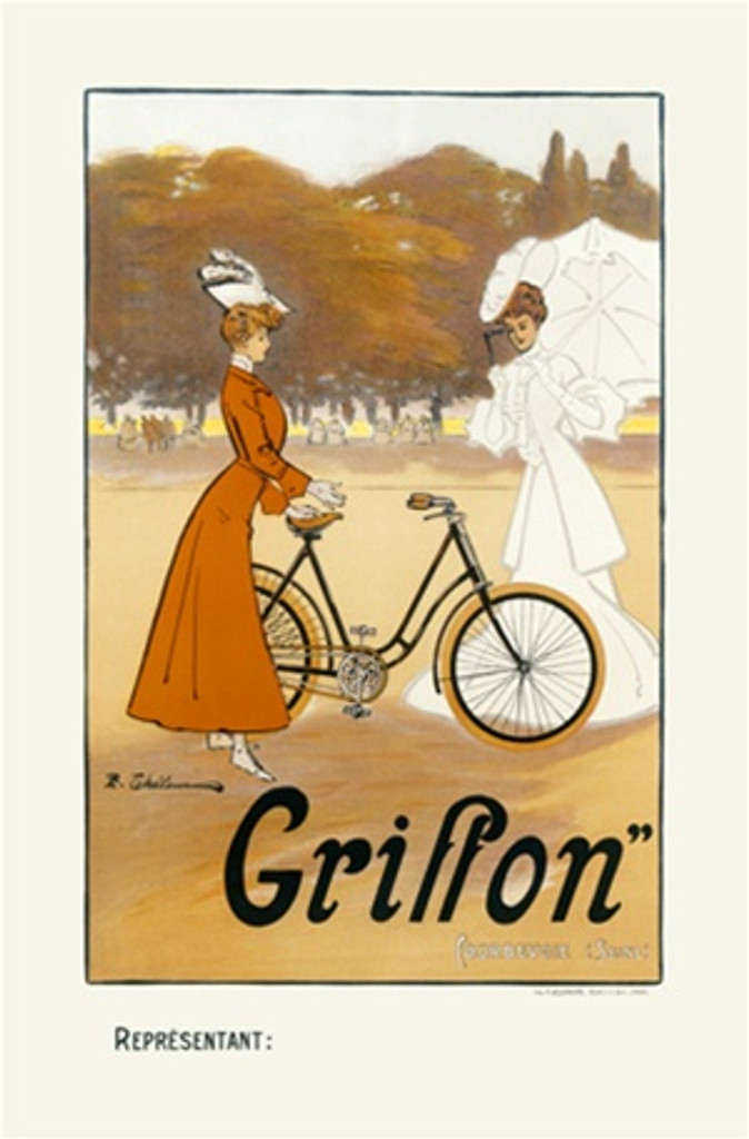 Griffon 1900 France - Beautiful Vintage Poster Reproductions. This vertical French transportation poster features a woman in a red dress showing off her bike to a lady in white with a parasol. Giclee Advertising Print. Classic Posters