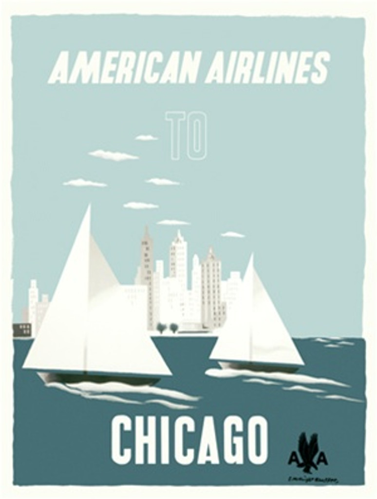 Chicago Travel Poster American Airlines advertisement - Beautiful Vintage Poster Reproductions. American Airlines travel poster features the city skyline from the lake with sailboats on the water. Giclee Advertising Print. Classic Posters