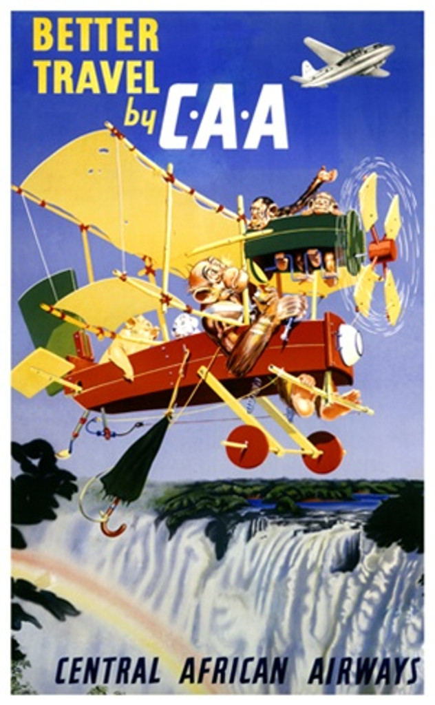 Central African Airlines 1952 Africa - Vintage Poster Reproductions. This African travel poster features a makeshift plane flown by monkeys with a pig and dog as passengers flying over a waterfall and rainbow. Giclee Advertising Print. Classic Posters
