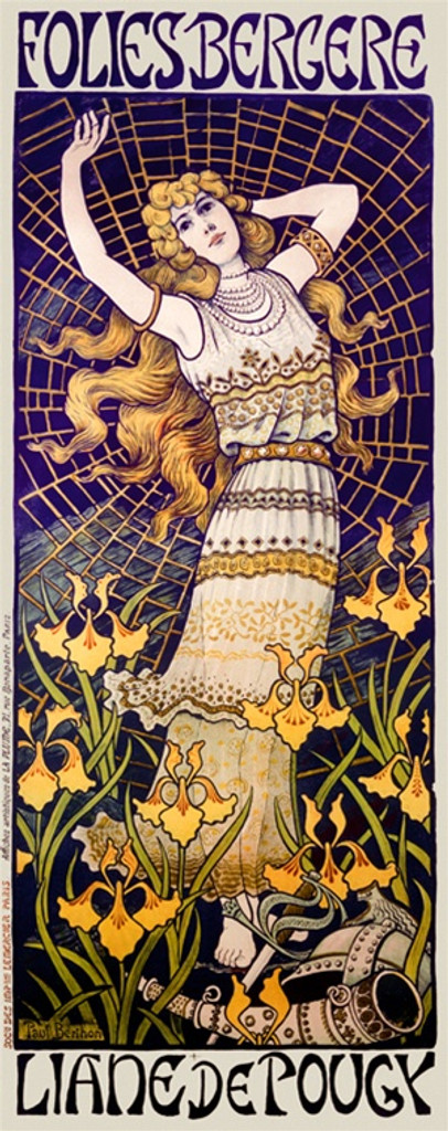 Folies Bergere Liane de Pougy poster by Berthon 1898 French - Vintage Postesr Reproductions. This French theater poster features a woman in a field of flowers in front of a spiders web with helmet at her feet. Giclee Advertising Print. Classic Posters