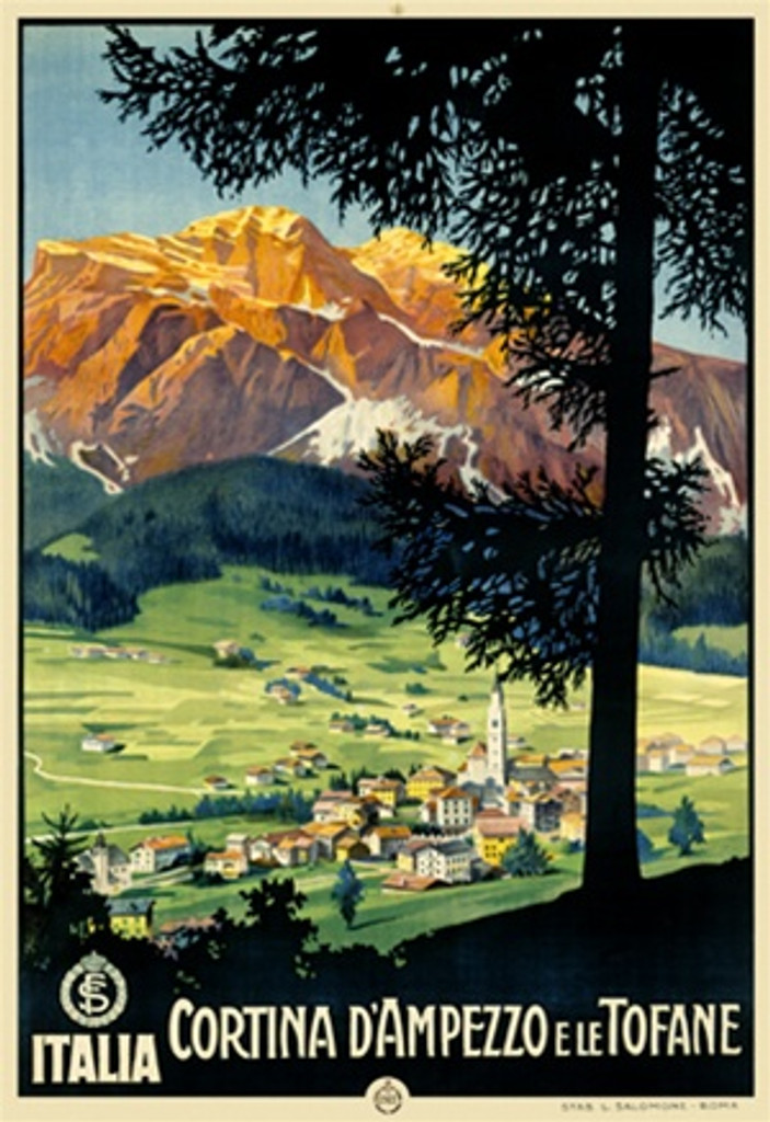 Cortina DAmpezzo e le Tofane by Salomone 1927 Italy - Vintage Poster Reproductions. This Italian travel poster features a landscape through silhouette trees of a village in a valley and mountains behind it. Giclee Advertising Print. Classic Posters