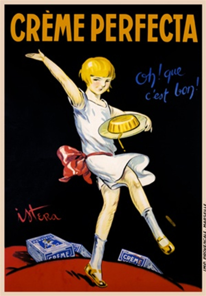 Creme Perfecta poster by Istera 1928 France - Beautiful Vintage Posters Reproductions. This French food poster features a child in a white dress with red bow dancing with a plate of dessert with boxes around her. Giclee Advertising Print. Classic Posters