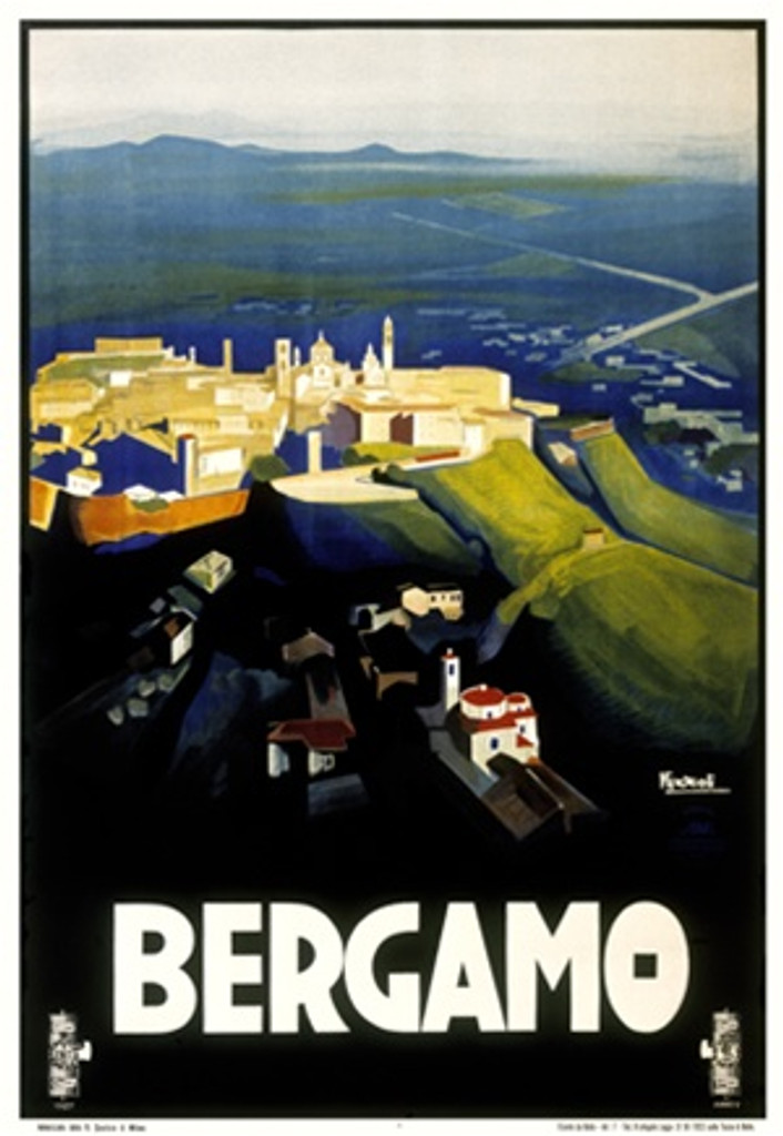 Bergamo by Nizzoli 1927 Italy - Beautiful Vintage Poster Reproductions. This vertical Italian travel poster features a hilltop village with towers and walls in a vast empty landscape. Giclee Advertising Print. Classic Posters
