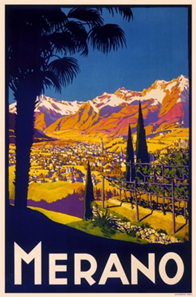 Merano 1930 Italy - Beautiful Vintage Poster Reproductions. This vertical Italian travel poster features a colorful landscape seen past a silhouette of a palm tree with snow covered mountains and blue sky. Giclee Advertising Print. Classic Posters