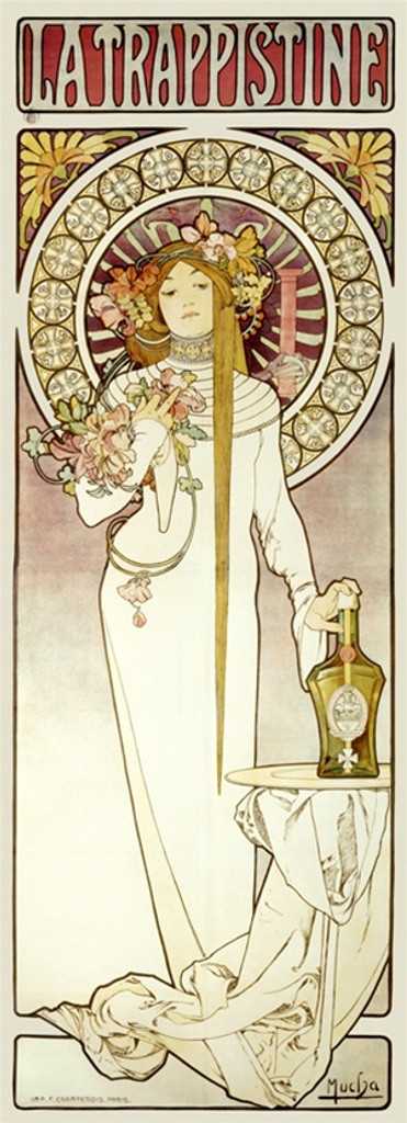 La Trappistine by Mucha 1896 France - Beautiful Vintage Poster Reproductions. This vertical French wine and spirits poster features an elegant woman in white with flowers in her hair and a hand on a bottle. Giclee Advertising Print. Classic Posters