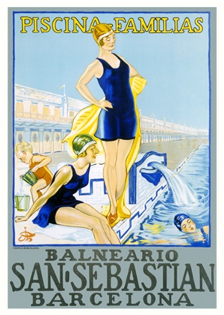 San Sebastian Piscina Familias poster from 1928 Spain - Beautiful Vintage Posters Reproductions. This Spanish travel poster features women and a child in bathing suits next to a swimming pool with a fountain. Giclee Advertising Print. Classic Posters