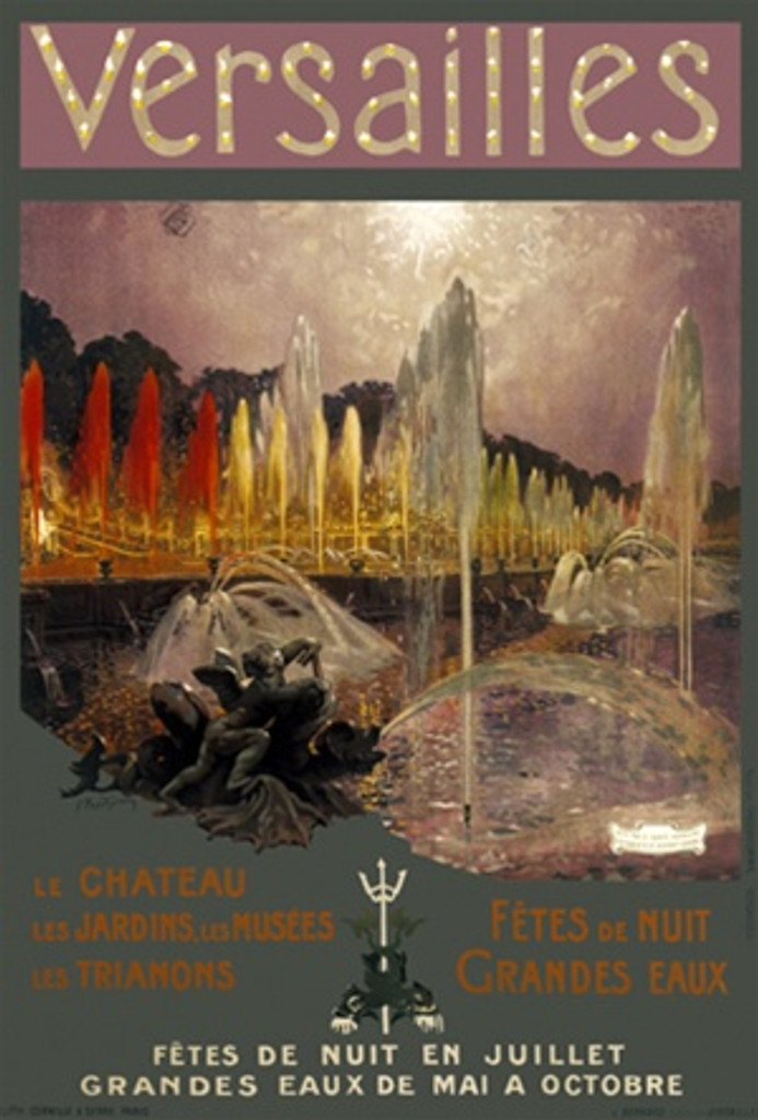 Versailles by Imp Prodhomme 1920 France - Beautiful Vintage Poster Reproductions. This vertical French travel poster features a fountain with statue of cherub and red and yellow water streams. Giclee Advertising Print. Classic Posters