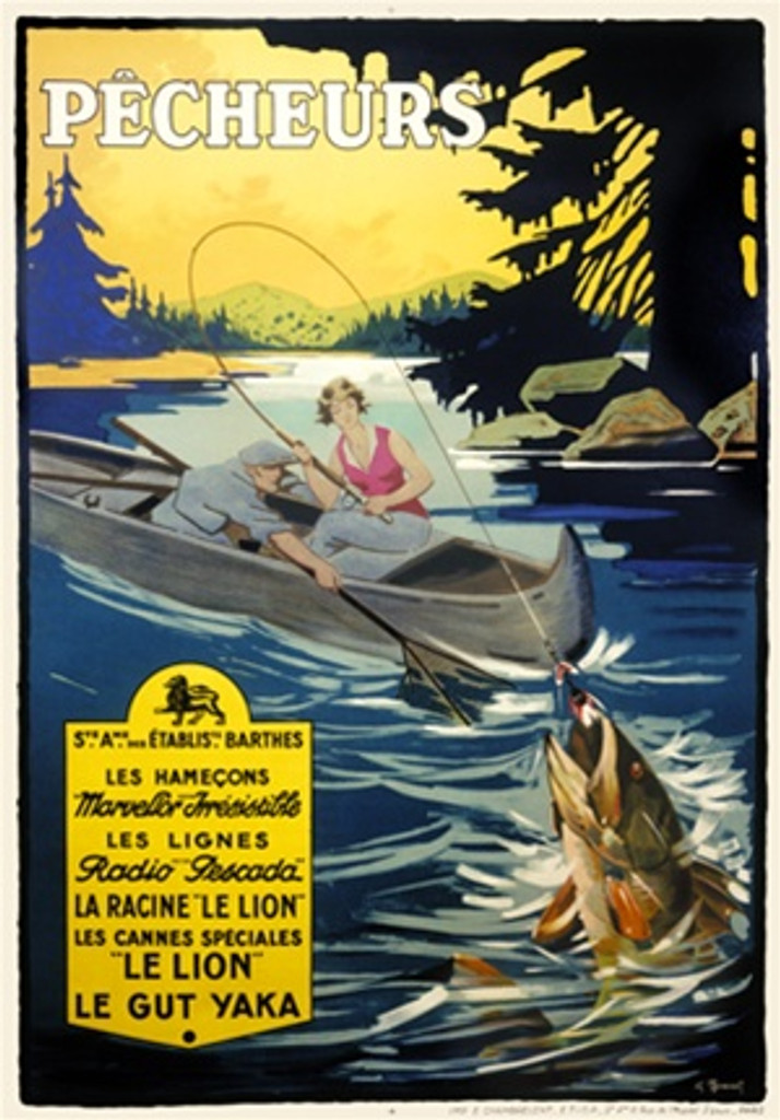 Pecheurs 1930 France - Beautiful Vintage Poster Reproductions. French travel poster features a couple in a boat fishing. The woman has a fish on her line and the man holds a net. Giclee Advertising Print. Classic Posters