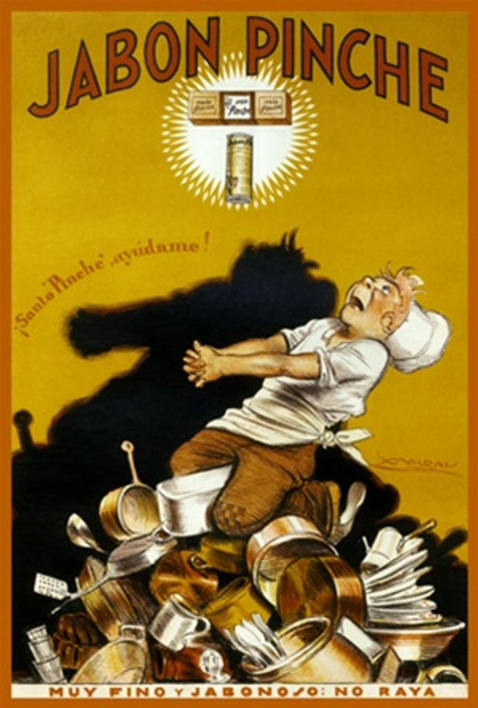Culinary Jabon Pinche by Mauzan 1920 South America - Beautiful Vintage Poster Reproductions. This South American food poster features a chef on a mountain of pots and pans with his hands clasped praying. Giclee Advertising Print. Reproductions Posters