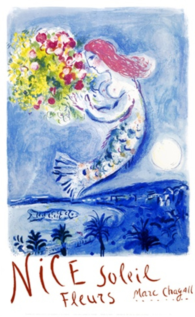 Nice poster M. Chagall 1962 France - Beautiful Vintage Posters Reproductions. This French travel poster features a mermaid with red hair floating in the sky above a coast at night with a bouquet of flowers. Giclee Advertising Print. Classic Posters Print