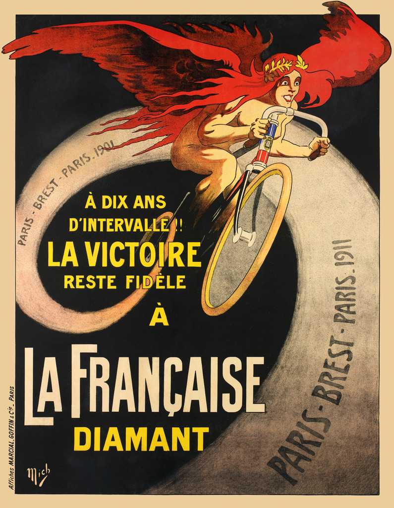 La Francaise Diamant by Mich (Michael Liebeaux) 1911 France - Vintage Poster Reproduction. French transportation poster features a nude woman with red wings and hair riding a bike with a swirling trail behind her. Giclee Advertising Print. Classic Posters