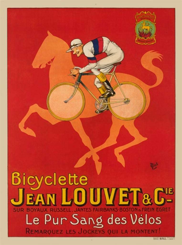 Bicyclette Jean Louvet and Cie by Mich 1922 France - Vintage Poster Reproductions. This vertical French transportation poster features a man on a bike over the outline of a orange horse over a red background. Giclee Advertising Print. Classic Posters