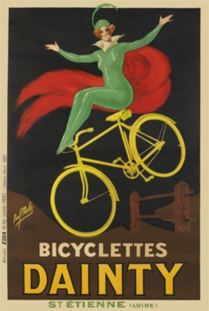 Bicyclettes Dainty by Mohr 1923 France - Beautiful Vintage Poster Reproductions. This vertical French transportation poster features a woman in green with red cape sitting on a yellow bike jumping over a fence. Giclee Advertising Print. Classic Posters