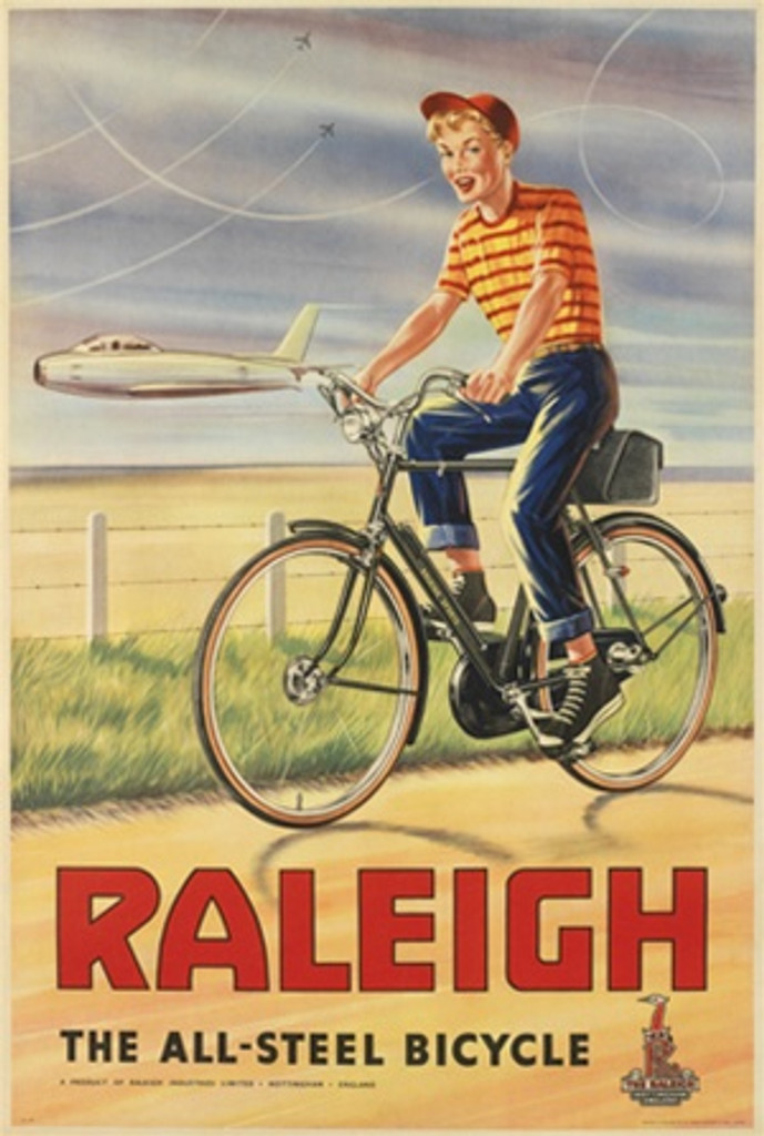 Raleigh 1960 England - Beautiful Vintage Poster Reproductions. English transportation poster features a boy on a bike riding on a road next to a field with a planes flying parallel to him. Giclee Advertising Print. Classic Posters