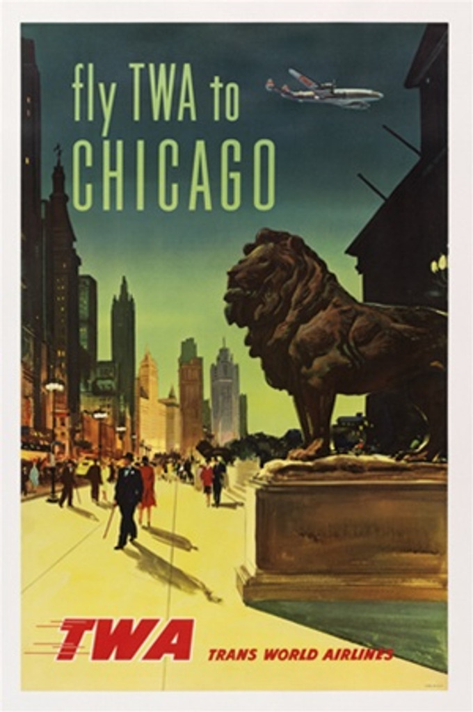 Chicago fly TWA 1958 America USA - Beautiful Vintage Poster Reproductions. This vertical American travel poster features the Art Institute lion on Michigan Ave lined with skyscrapers and a plane flying overhead. Giclee Advertising Print. Classic Posters
